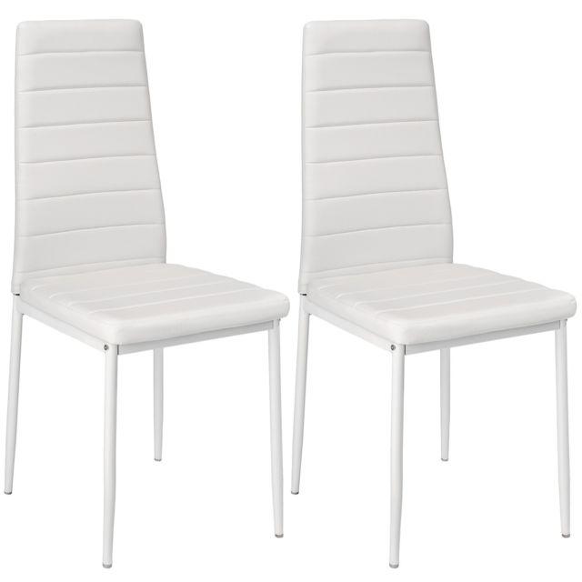 lot de 2 chaises de salle a manger salon cuisine design blanche 1908008