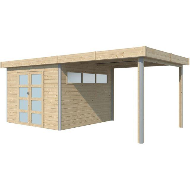 chalet en bois profil aluminium contemporain avec extension 16 80 m avec