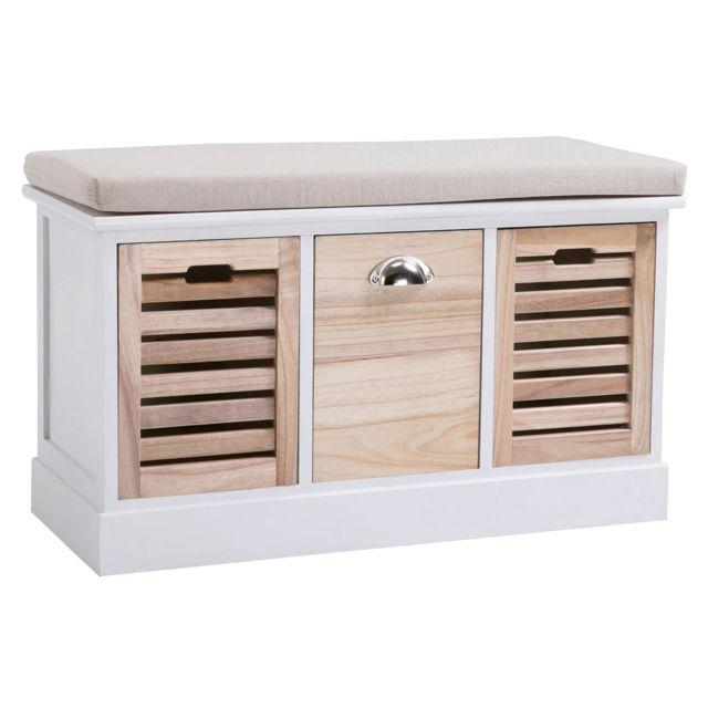 banc de rangement trient meuble bas coffre avec assise coussin rembourre et 3