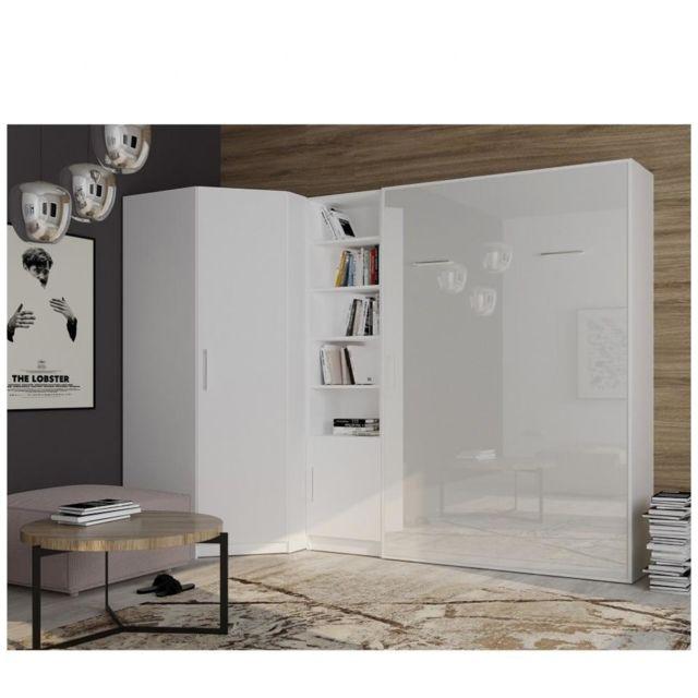 composition armoire lit angle smart v2 160 200 cm blanc mat facade gloss