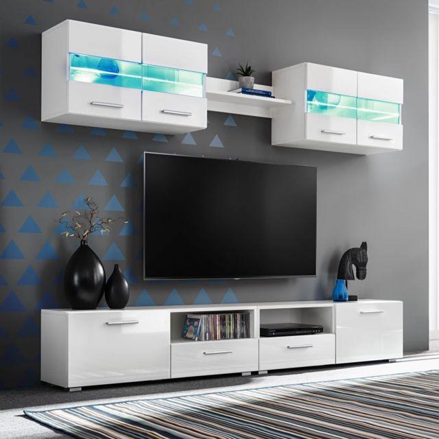 vidaxl ensemble meuble mural tv 5 pcs lumieres led haute brillance