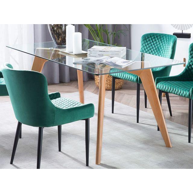 beliani table de salle a manger table en verre 160x90 cm hudson