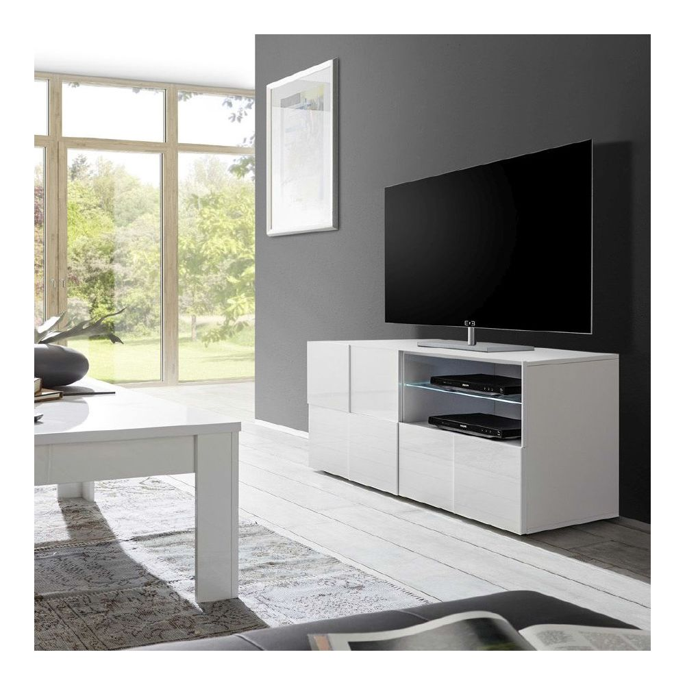 kasalinea petit meuble tv blanc laque brillant dominos
