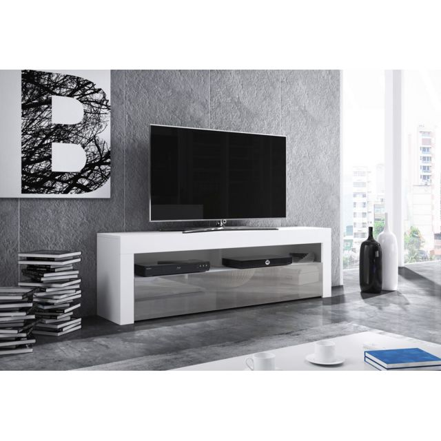 vivaldi meuble tv mex 2 140 cm blanc mat gris brillant style moderne