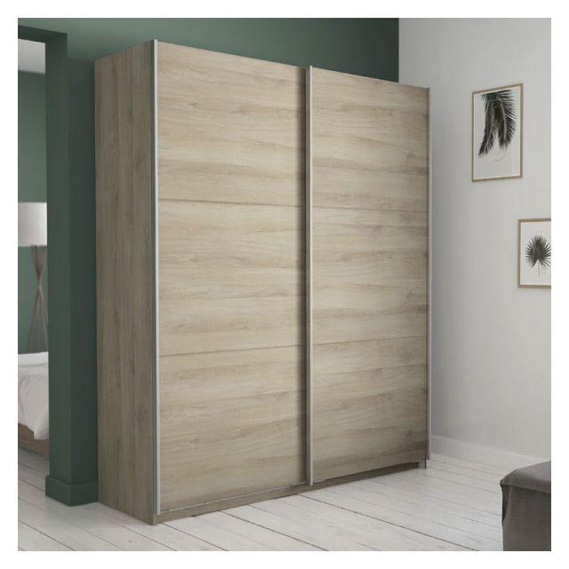 armoire 2 portes coulissantes chene 150 gela l 154 x l 65 x h 224 cm