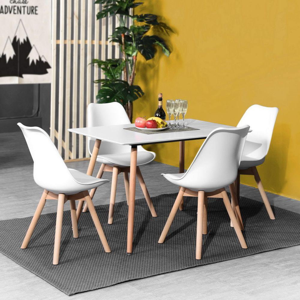 4 chaises scandinave bois blanc