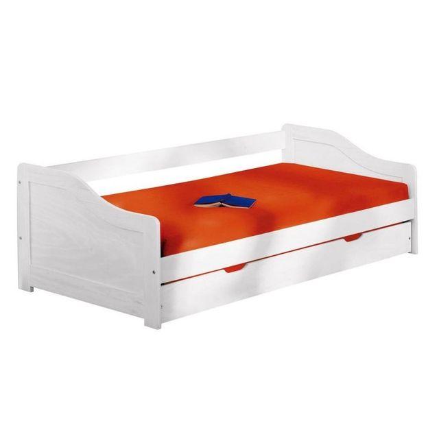 lit banquette bois massif laora 90x190cm blanc