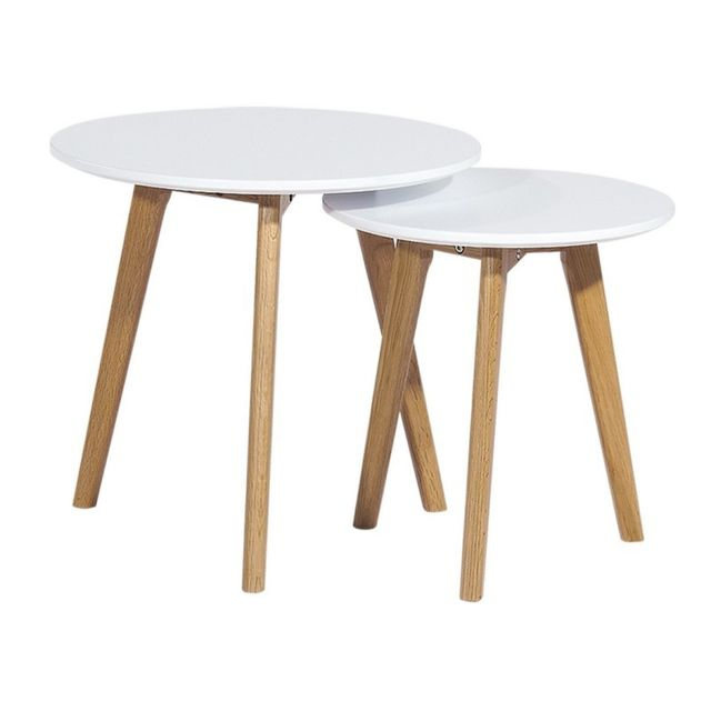 2 tables basses gigognes rondes blanches
