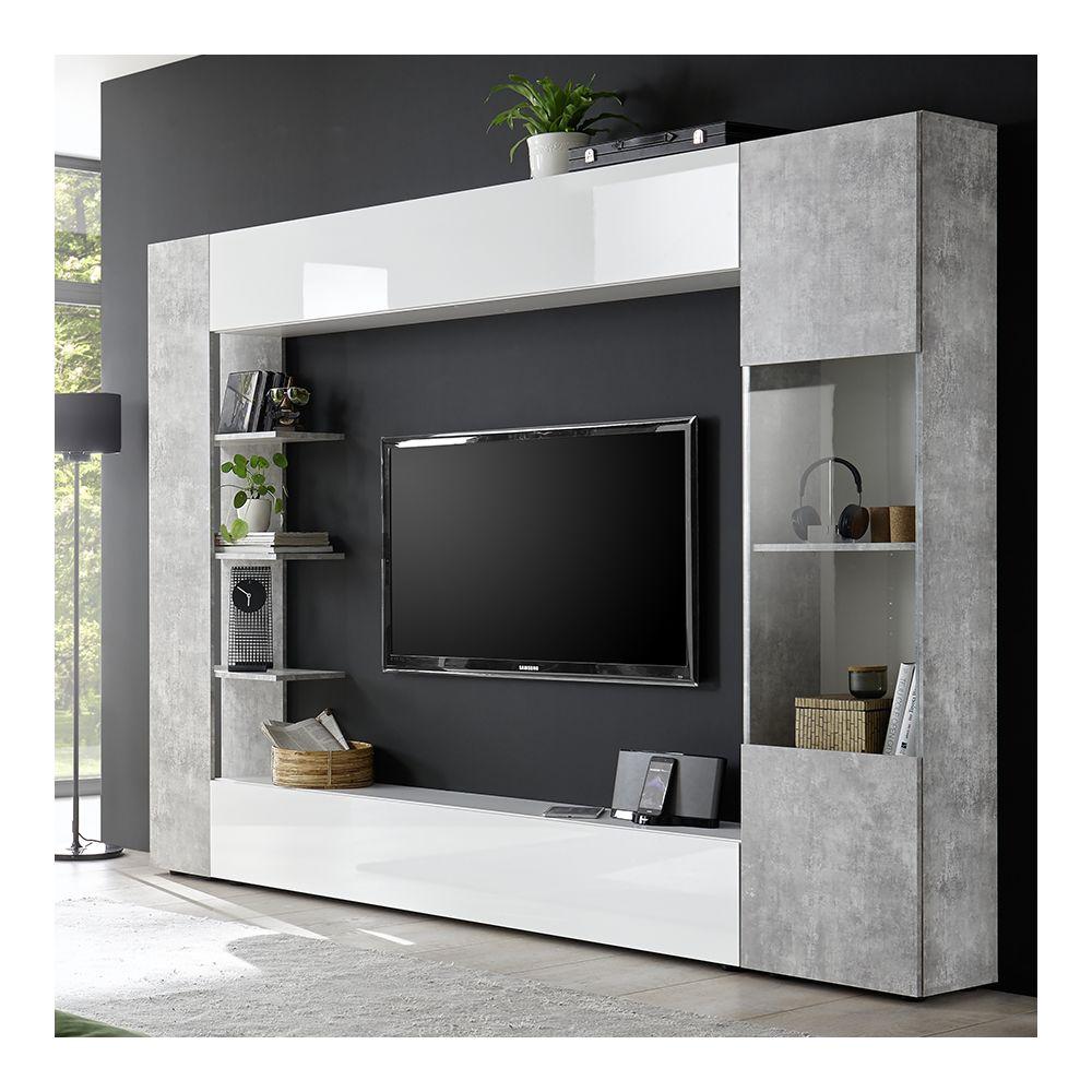 kasalinea meuble tv mural blanc et beton soprano 2