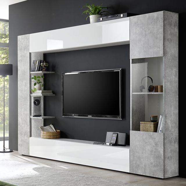 meuble tv mural blanc et beton soprano 2