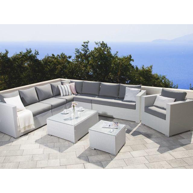 salon de jardin en rotin blanc et coussins gris xxl