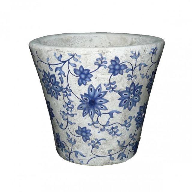 petit cache pot etanche style champetre aux motifs floraux bleutes en terre