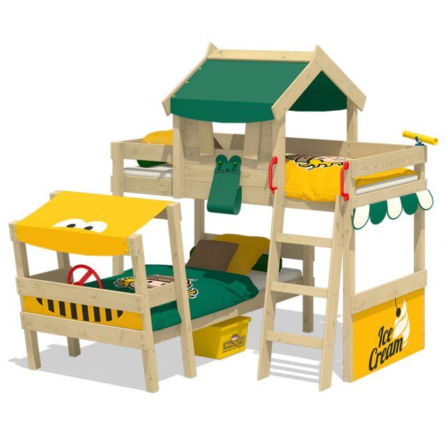 wickey lit superpose crazy trunky lit en bois pour enfants 2 places