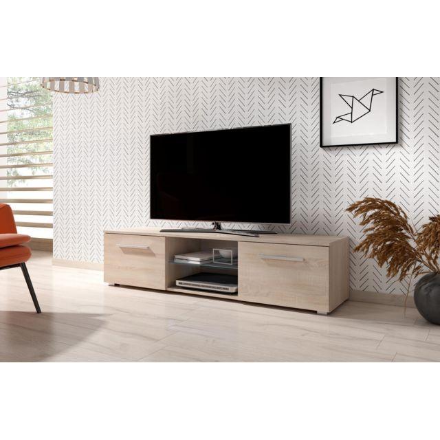 vivaldi meuble tv moon 140 cm chene sonoma clair style moderne