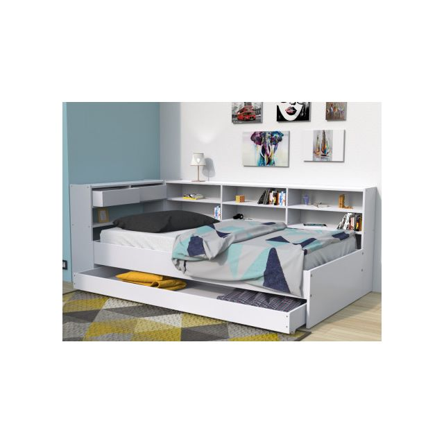lit avec tiroirs et etageres renato ii 90x190cm blanc
