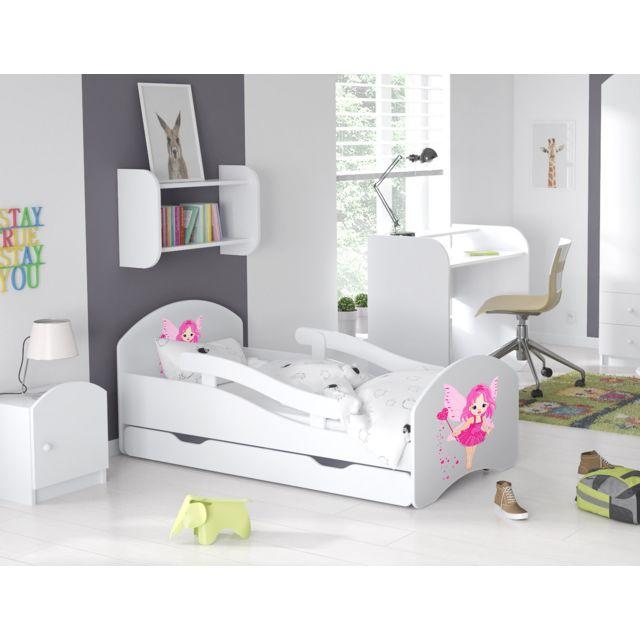 lit enfant 70x140cm avec matelas barre de securite tiroir blanc9