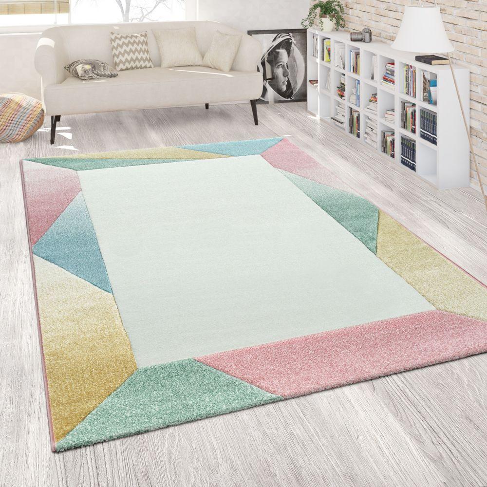 paco home tapis de salon a poils ras colore moderne bordure design abstrait multicolore