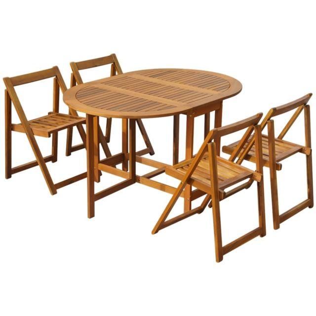 vidaxl mobilier a diner d exterieur pliable 5 pcs bois d acacia solide
