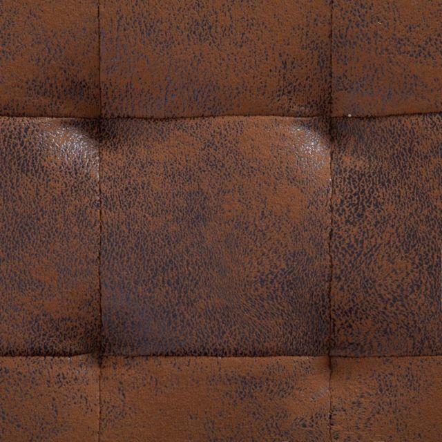 icaverne bancs coffres ligne pouf de rangement 87 5 cm marron similicuir daim