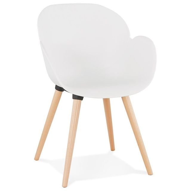 chaise design scandinave picata blanche avec pieds en bois