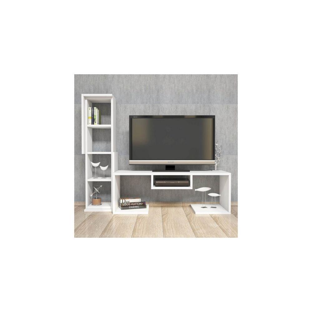 homemania homemania meuble tv bacio moderne avec etageres pour salon blanc en bois 126 8 x 35 x 103 6 cm