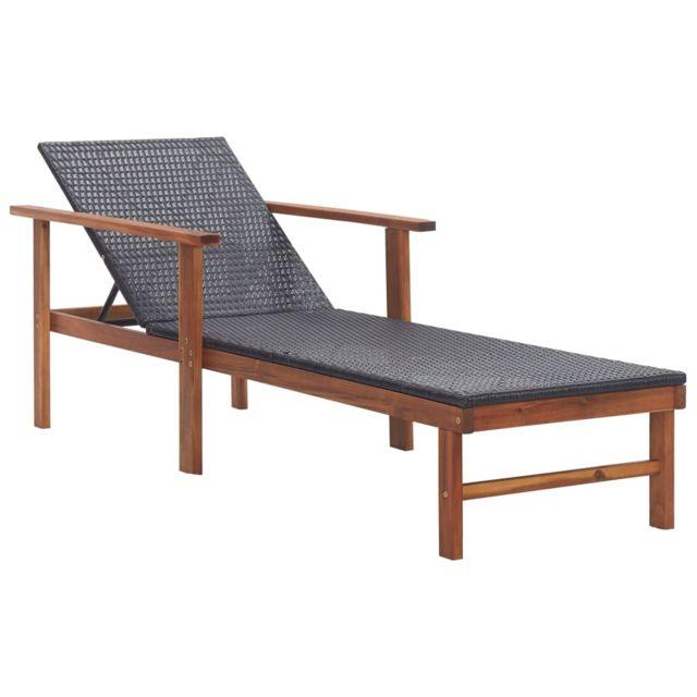 vidaxl chaise longue resine tressee et bois d acacia massif noir
