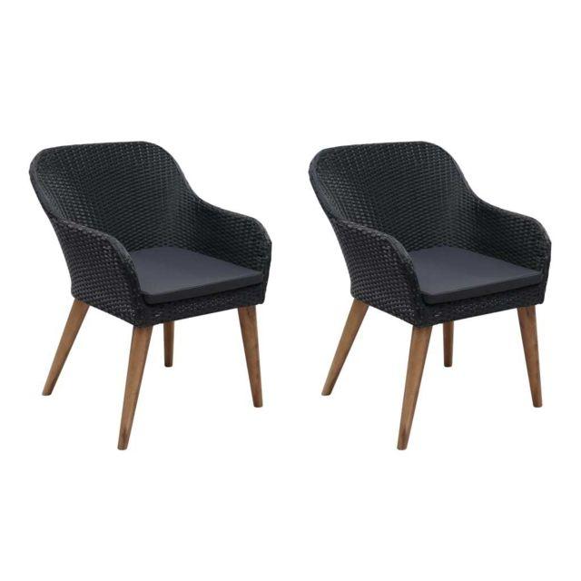 vidaxl fauteuil d exterieur 2 pcs resine tressee noir et gris