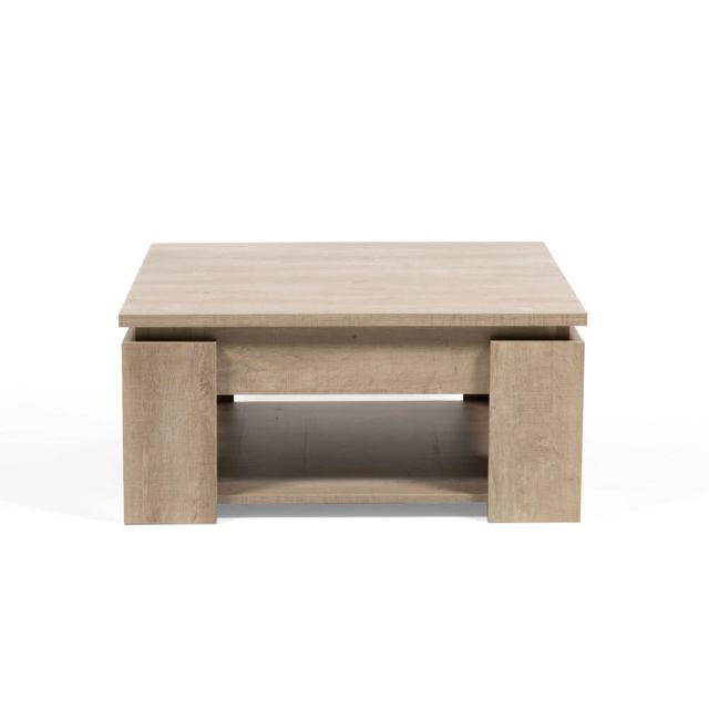 table basse carree en bois a double plateau longueur 80 cm segur chene