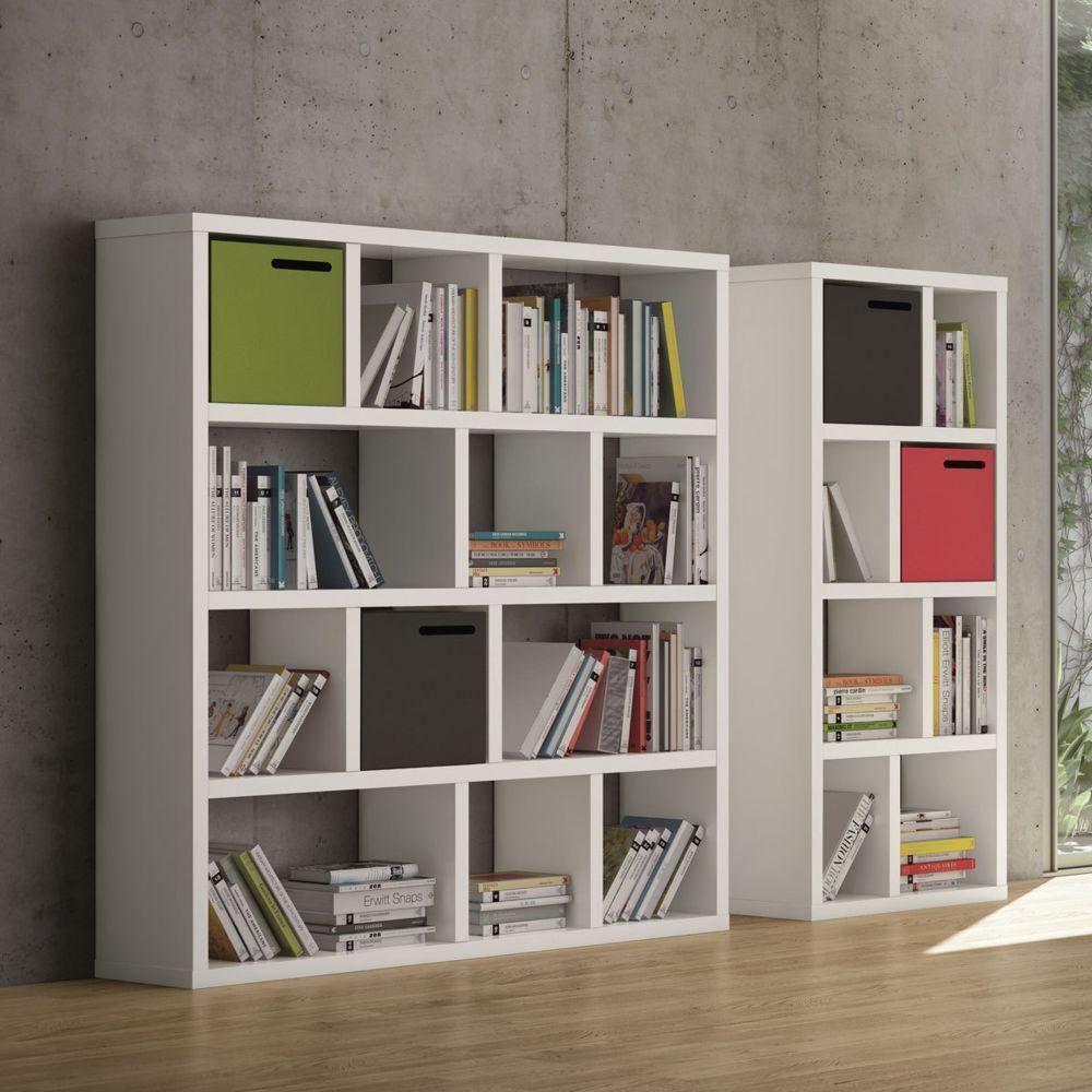 temahome etagere bibliotheque berlin 4 niveaux 70 cm blanc