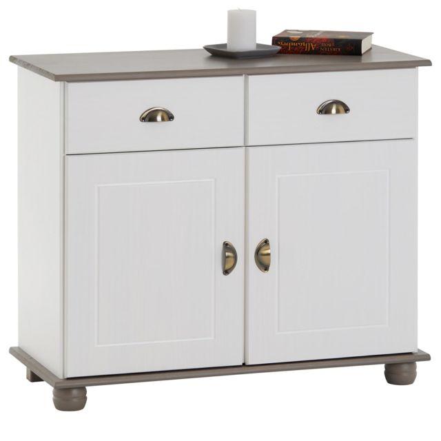 buffet colmar commode bahut vaisselier meuble bas rangement avec 2 tiroirs et 2