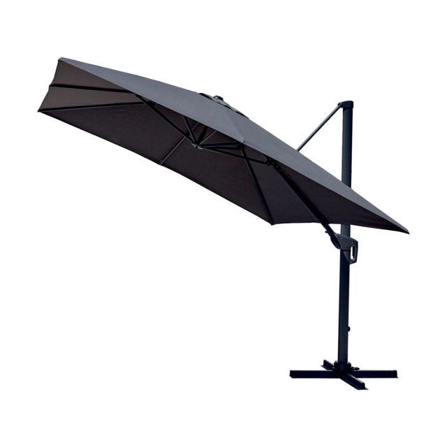 parasol deporte inclinable carre cadix l 300 x l 300 cm gris anthracite
