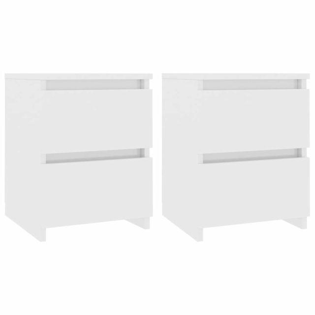 icaverne tables de chevet edition tables de chevet 2 pcs blanc brillant 30 x