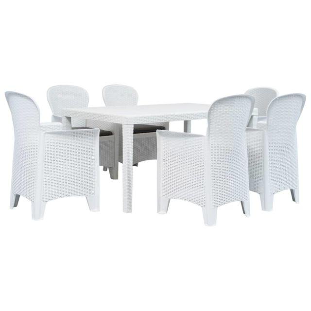 contemporain mobilier de jardin serie nicosie meuble a diner d exterieur 7pcs