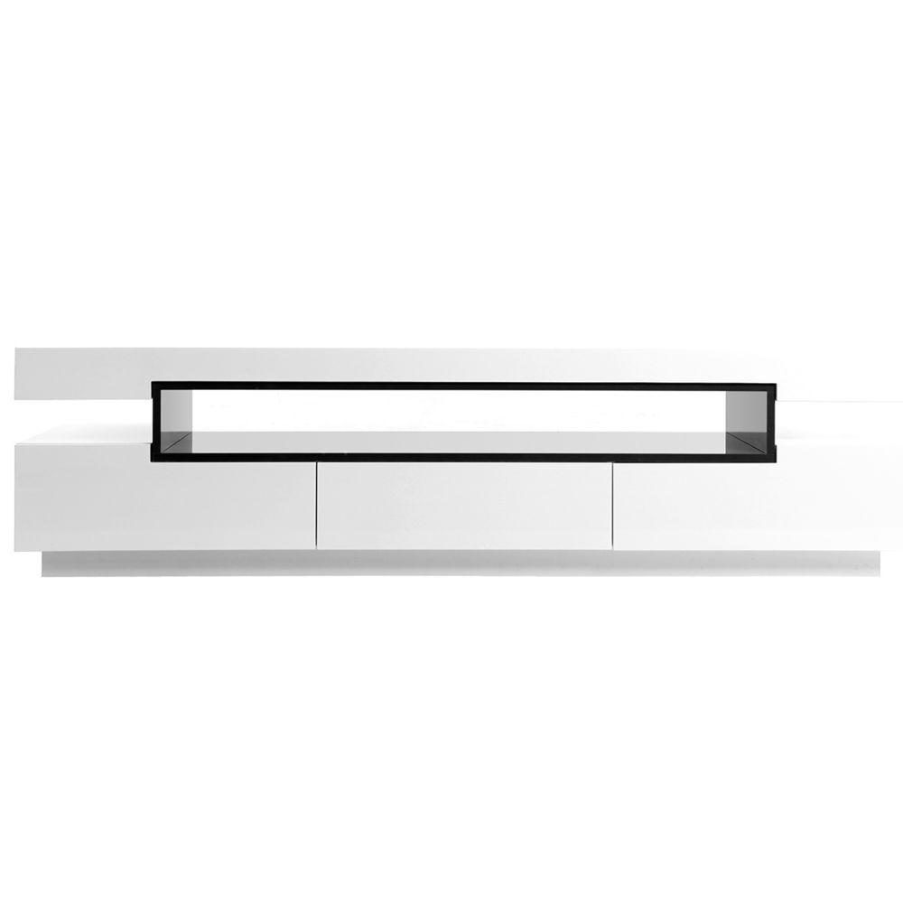 meuble tv design laque blanc brillant