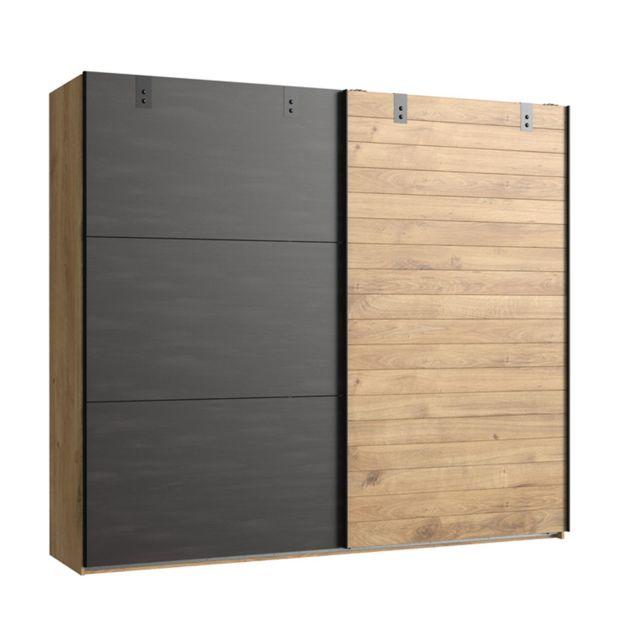 armoire design 2 portes coulissantes imitation chene poutre rechampis raw steel