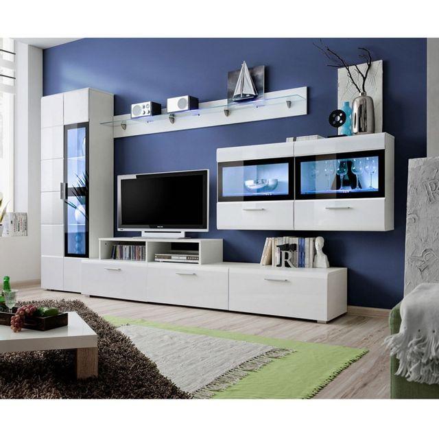 meuble tv mural design krone 300cm blanc