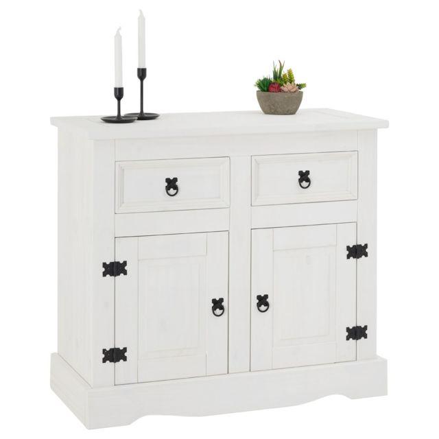 buffet rural commode bahut vaisselier en pin massif blanc avec 2 tiroirs et 2