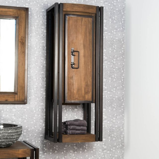 colonne de salle de bain suspendue elegance teck metal 110 cm