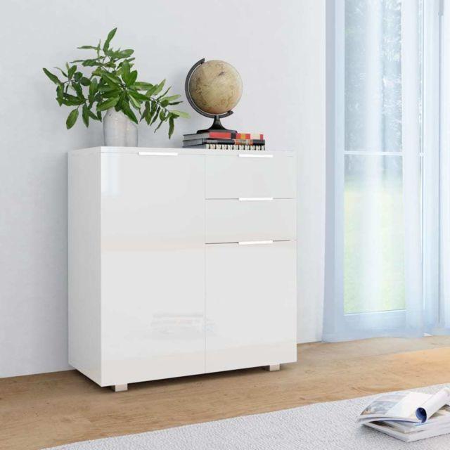 splendide armoires et meubles de rangement gamme abuja buffet blanc brillant 71