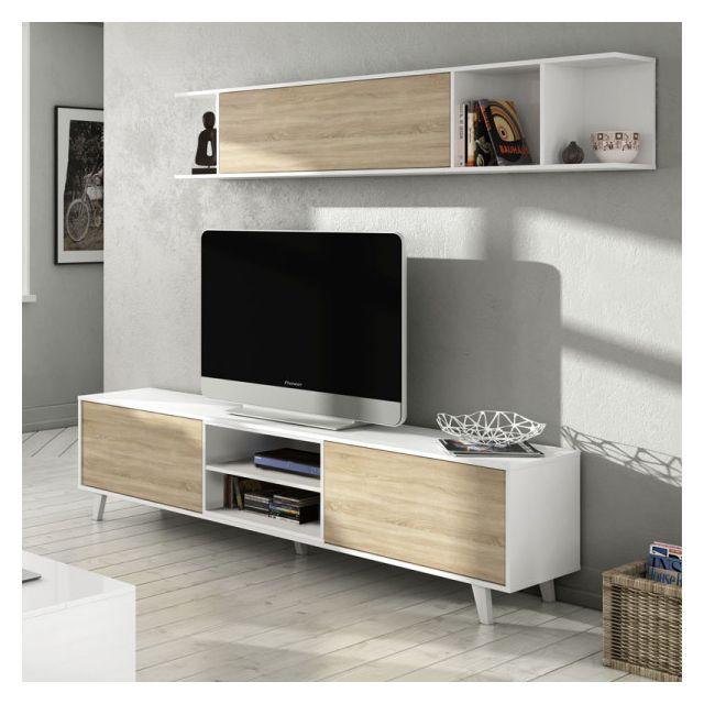 composition tv blanc brillant chene clair stockton l 180 x l 41 x h 51 cm