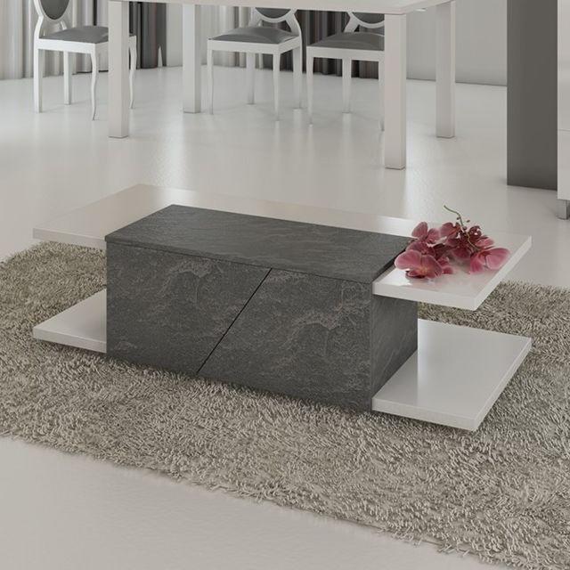 table basse design 120x60 cm gris et blanc laque blanc laurea