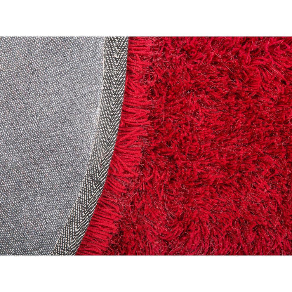 beliani beliani tapis rond rouge cide