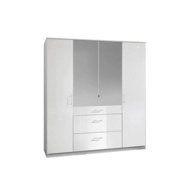 armoire cooper 4 portes 3 tiroirs largeur 179 cm laque blanc