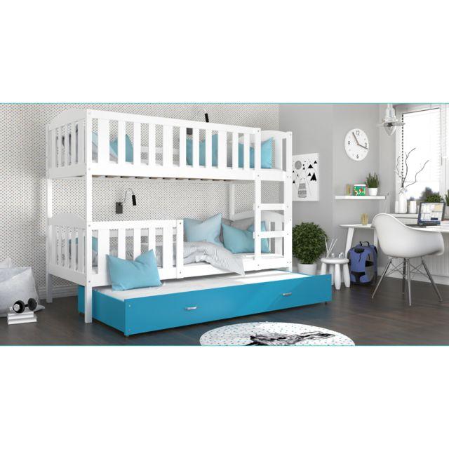 lit superpose 3 places teo 90x190 blanc bleu livre avec tiroir 3 sommiers et