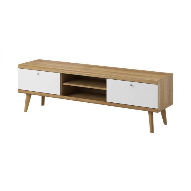 bobochic meuble tv 160 primino bois et blanc