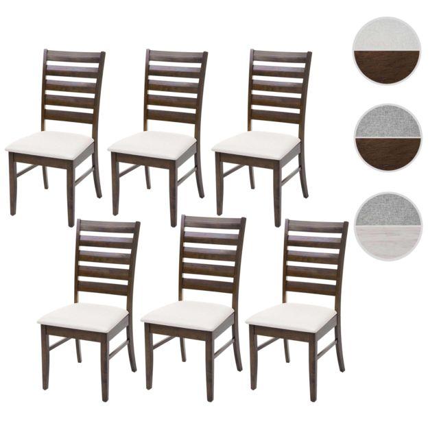 6x chaise de salle a manger hwc g47 chaise pour cuisine tissu en bois massif