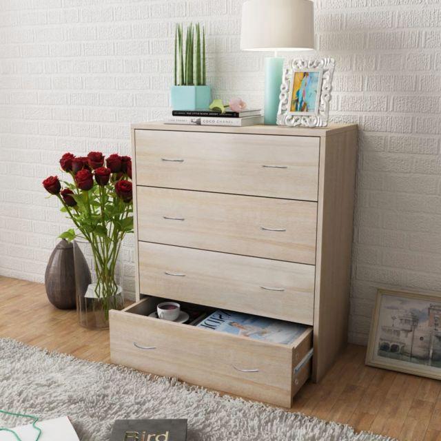 vidaxl buffet avec 4 tiroirs commode meuble de rangement couleur chene salon