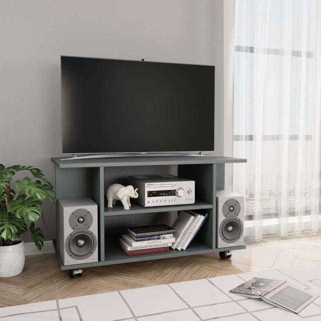 vidaxl meuble tv avec roulettes gris 80 x 40 x 40 cm agglomere