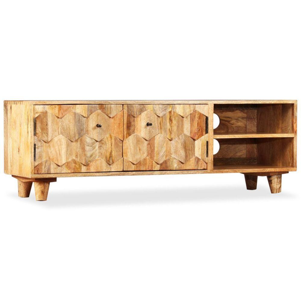 marque generique sublime meubles serie conakry meuble tv bois massif de manguier 118 x 35 x 40 cm