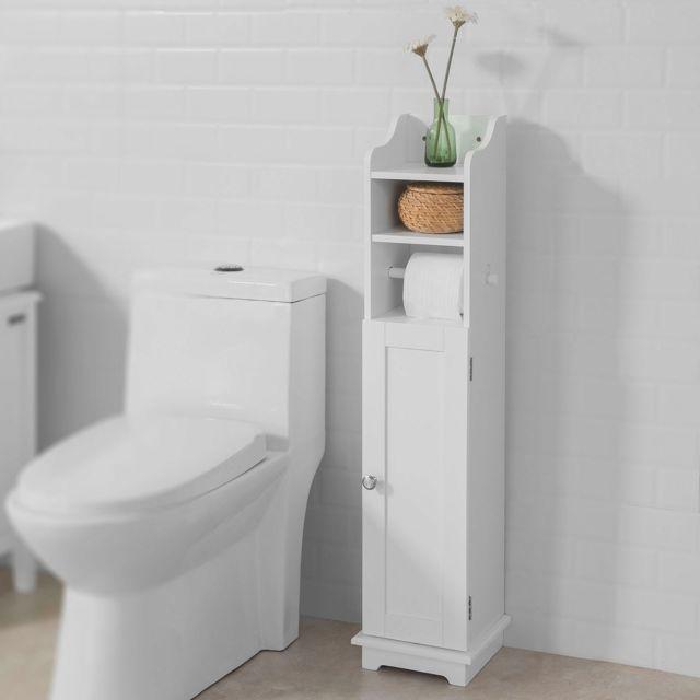 sobuy frg177 w support papier toilette armoir toilettes porte brosse wc en bois